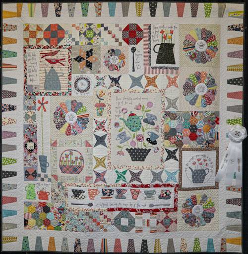 gossip in the garden by norma bridges, artisan division first show entry, dallas quilt show 2020