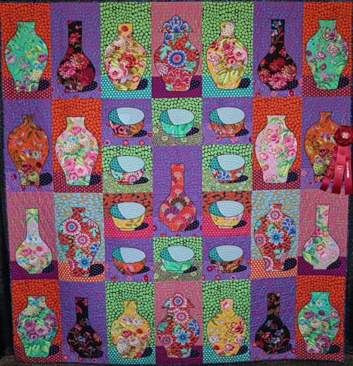 bowls and vases by norma bridges, artisan division large applique, dallas quilt show 2020