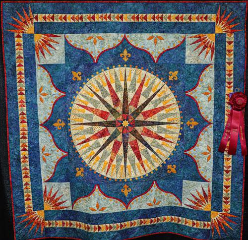 cajun dawn by jane chance, artisan division wall quilt, dallas quilt show 2020