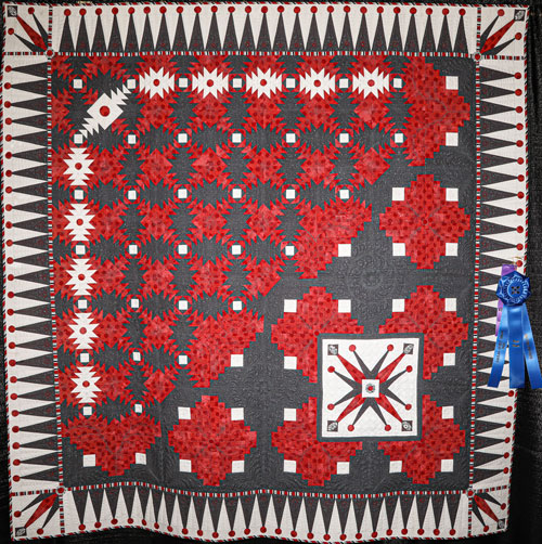 master division large pieced, 1st place, jester's jubilee by tami graeber, dallas quilt show 2020