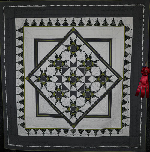 master division large pieced, 2nd place, feathers by lynette koelzer, dallas quilt show 2020