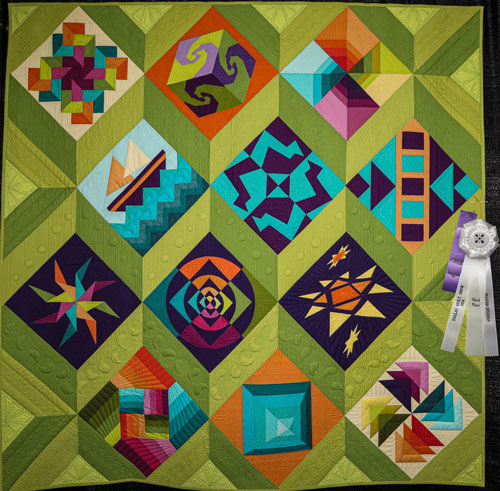 playing well together, a modern sampler by jackie nixon-fulton, master division wall quilt, dallas quilt show 2020