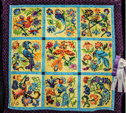birds of paradise by mary watterson, open division digitized quilts, dallas quilt show 2020