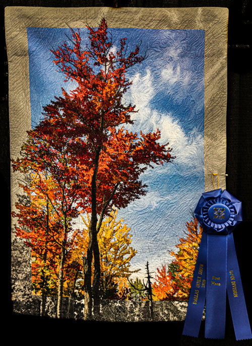fall in maine by judy kriehn, open division pictorial quilts, dallas quilt show 2020