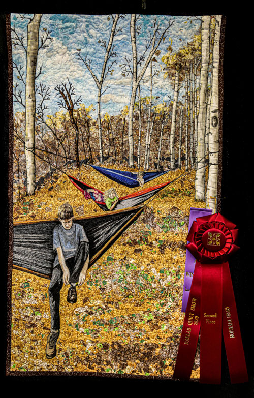 hammocks among the aspens by rose-clair fletcher, open division pictorial quilts, dallas quilt show 2020
